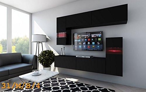 Wohnwand future 31 anbauwand hochglanz matt schwarz matt for Esszimmerstuhl farbig