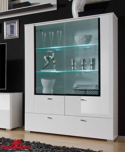 vitrine standvitrine 440925 wei hochglanz mdf schwarz 100cm 1 wohnw nde. Black Bedroom Furniture Sets. Home Design Ideas
