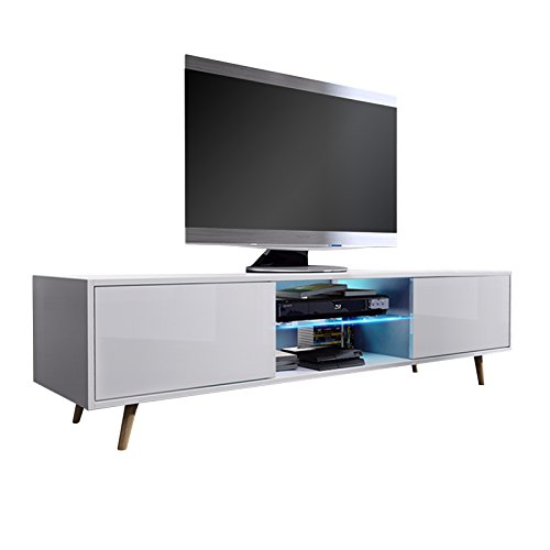 tv schrank lowboard sideboard tisch m bel board rivano mit led beleuchtung wei matt wei. Black Bedroom Furniture Sets. Home Design Ideas