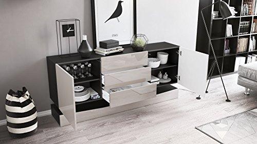 sideboard kommode city korpus in schwarz matt fronten in avola anthrazit inkl led. Black Bedroom Furniture Sets. Home Design Ideas