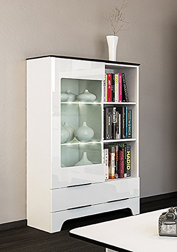 glasvitrine 65125 vitrine highboard 81cm weiss hochglanz schwarz 1 m bel24 wohnw nde. Black Bedroom Furniture Sets. Home Design Ideas