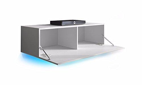 TV Schrank Lowboard Hängeboard SIMPLE mit LED Blau (Weiß  -> Tv Schrank Led