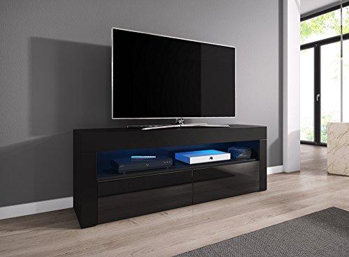 tv element tv schrank tv st nder entertainment lowboard luna 140 cm k rper schwarz matt. Black Bedroom Furniture Sets. Home Design Ideas