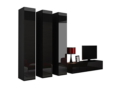 wohnwand vigo xiv anbauwand modernes wohnzimmer set mediawand vitrine h ngeschrank tv schrank. Black Bedroom Furniture Sets. Home Design Ideas