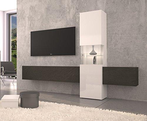wohnwand mediawand wohnzimmer schrank fernseh schrank tv lowboard wei hochglanz. Black Bedroom Furniture Sets. Home Design Ideas