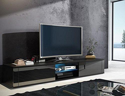 tv schrank hit tv lowboard unterschrank hochglanz mit led schwarz matt schwarz. Black Bedroom Furniture Sets. Home Design Ideas