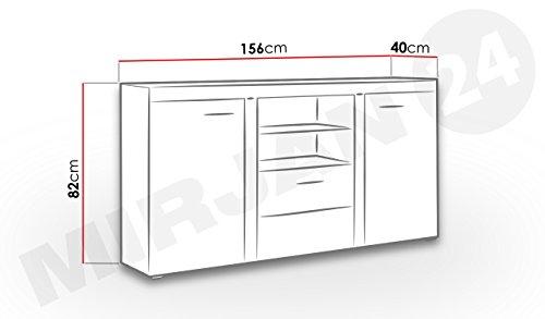Highboard kommode arten sideboard anrichte 156x82x40 cm for Wohnzimmerschrank mit led beleuchtung