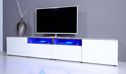tv lowboard noomo wei hochglanz inkl rgb led beleuchtung g nstig online kaufen wohnw nde. Black Bedroom Furniture Sets. Home Design Ideas