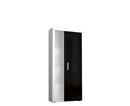 regal samba standregal mit t ren hochglanz mit led beleuchtung wei schwarz hochglanz. Black Bedroom Furniture Sets. Home Design Ideas