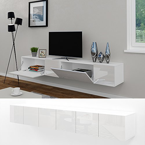 tv lowboard set 240 cm wei hochglanz sideboard. Black Bedroom Furniture Sets. Home Design Ideas