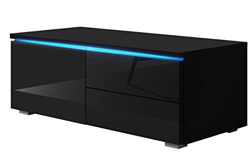 TV Schrank Lowboard Sideboard Tisch Möbel Board Luv Single mit LED (Schwarz Matt / Schwarz Hochglanz)