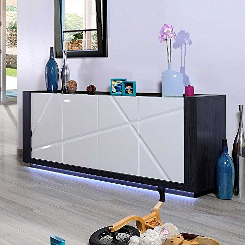 hochglanz sideboard mit led beleuchtung 200 cm breit pharao24 wohnw nde. Black Bedroom Furniture Sets. Home Design Ideas