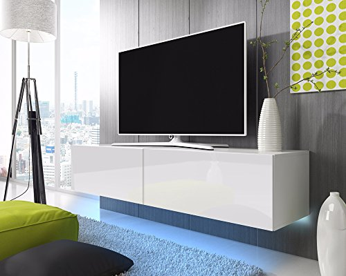 tv schrank lowboard h ngeboard simple mit led blau wei matt wei hochglanz 200 cm m bel24. Black Bedroom Furniture Sets. Home Design Ideas