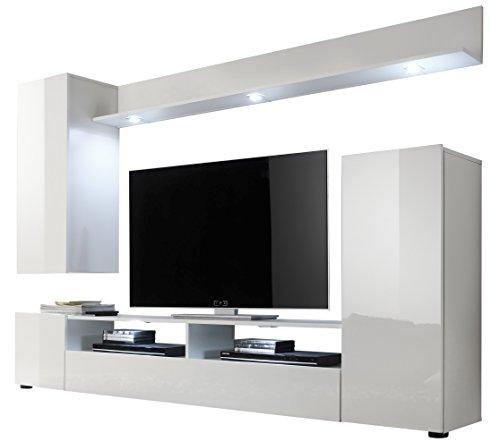 trendteam ds94501 wohnwand anbauwand wohnzimmerschrank wei nachbildung und front in wei. Black Bedroom Furniture Sets. Home Design Ideas
