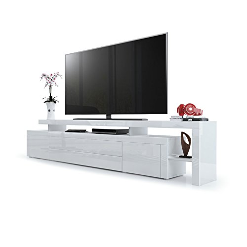 tv board lowboard leon v3 korpus und berbau in wei hochglanz front in wei hochglanz mit. Black Bedroom Furniture Sets. Home Design Ideas