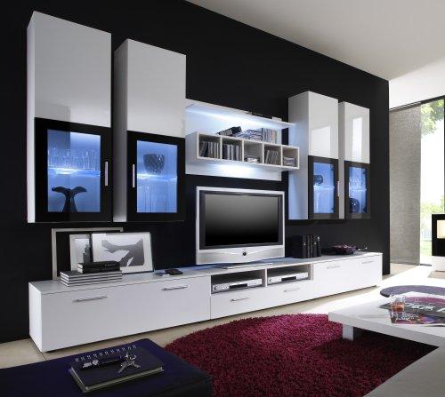 Moderne wohnwand vitrine anbauwand wohnzimmer m bel wei 1 for Wohnwand vitrine
