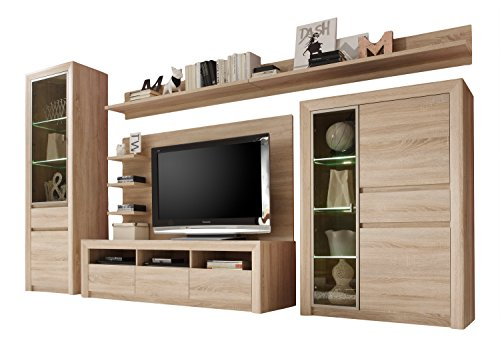 trendteam sv97745 wohnwand wohnzimmerschrank eiche sonoma hell bxhxt 342 x 200 x 51 cm g nstig. Black Bedroom Furniture Sets. Home Design Ideas