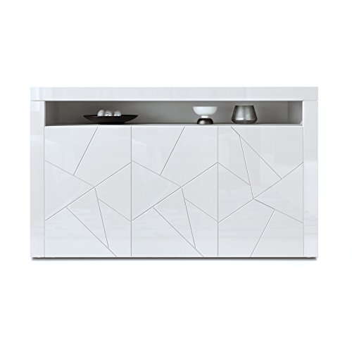 sideboard kommode valencia korpus in wei matt fronten in wei hochglanz element mit 3d. Black Bedroom Furniture Sets. Home Design Ideas