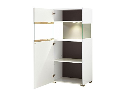 vitrine standvitrine glasvitrine holzvitrine vitrinenschrank schrank medox i wei hochglanz. Black Bedroom Furniture Sets. Home Design Ideas