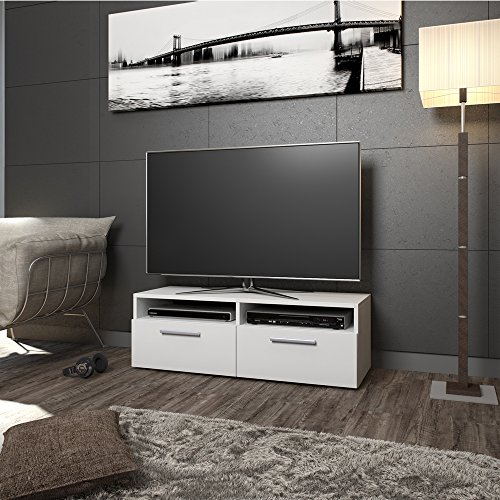 tv lowboard 95cm wei hochglanz fernsehtisch sideboard. Black Bedroom Furniture Sets. Home Design Ideas