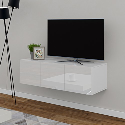 tv lowboard 120 cm wei hochglanz sideboard wandschrank fernsehschrank wohnwand h ngeschrank. Black Bedroom Furniture Sets. Home Design Ideas