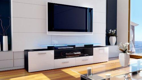 tv board lowboard almada v2 korpus in schwarz matt korpus in wei hochglanz 1 m bel24. Black Bedroom Furniture Sets. Home Design Ideas