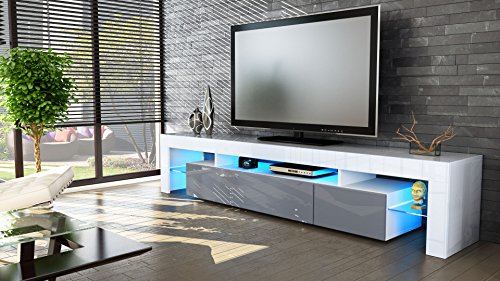 tv board lowboard lima v2 in wei grau hochglanz g nstig. Black Bedroom Furniture Sets. Home Design Ideas