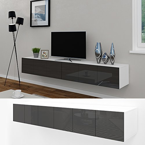 tv lowboard set 240 cm wei anthrazit hochglanz sideboard wandschrank fernseher schrank. Black Bedroom Furniture Sets. Home Design Ideas