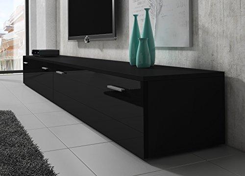 tv m bel lowboard schrank st nder boston korpus schwarz front schwarz hochglanz 300 cm g nstig. Black Bedroom Furniture Sets. Home Design Ideas