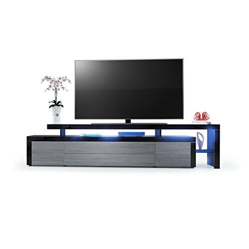 tv board lowboard leon v3 korpus und berbau in schwarz hochglanz front in avola anthrazit. Black Bedroom Furniture Sets. Home Design Ideas