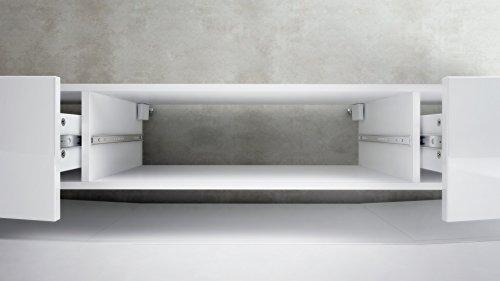 tv board lowboard city korpus in wei matt fronten in grau hochglanz inkl led beleuchtung 4. Black Bedroom Furniture Sets. Home Design Ideas