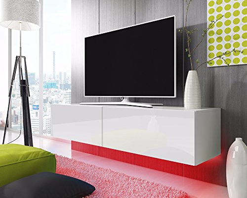 tv schrank lowboard h ngeboard simple mit led blau wei matt wei hochglanz 200 cm g nstig. Black Bedroom Furniture Sets. Home Design Ideas