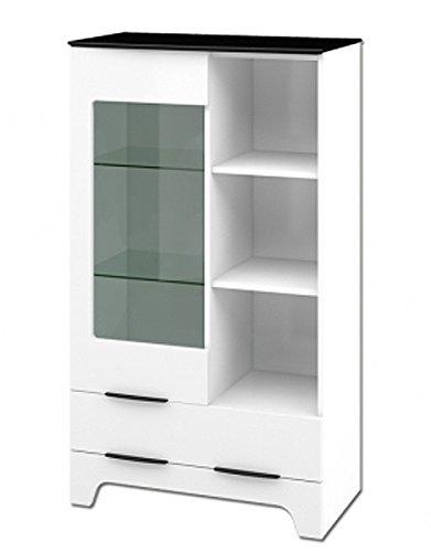 glasvitrine 65125 vitrine highboard 81cm weiss hochglanz schwarz 2 wohnw nde. Black Bedroom Furniture Sets. Home Design Ideas