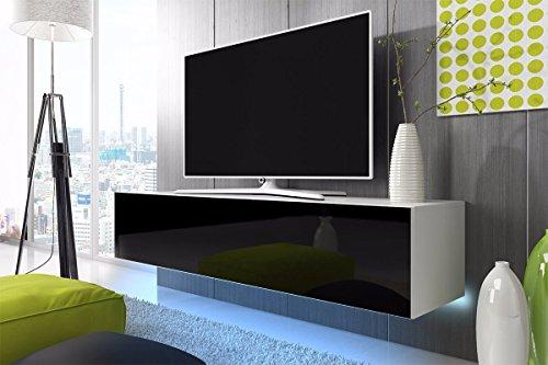 TV Schrank Lowboard Hängeboard SIMPLE mit LED Blau (Weiß Matt / Schwarz Hochglanz 160 cm)