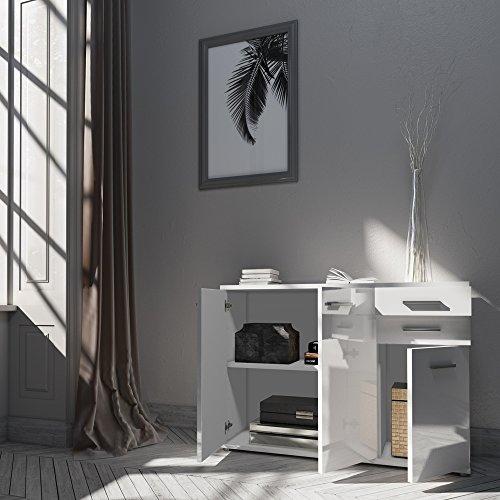 sideboard kommode schrank anrichte mehrzweckschrank highboard hochglanz weiss 2 wohnw nde. Black Bedroom Furniture Sets. Home Design Ideas