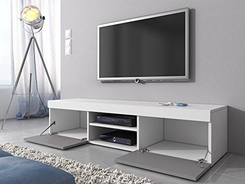 tv m bel lowboard schrank st nder mambo wei matt grau hochglanz 160 cm 1 wohnw nde. Black Bedroom Furniture Sets. Home Design Ideas