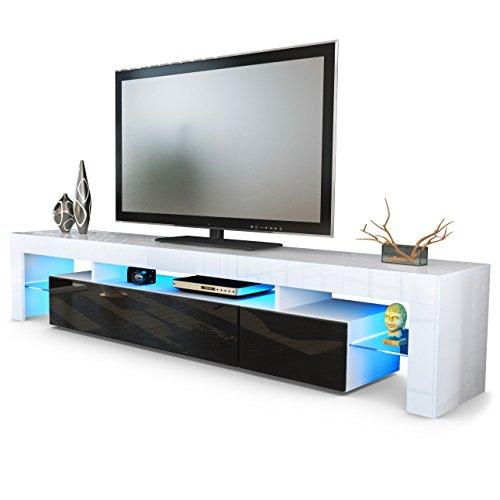 TV Board Lowboard Lima V2 in Weiß / Schwarz Hochglanz