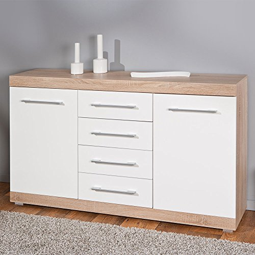 esszimmer sideboard in hochglanz wei eiche sonoma. Black Bedroom Furniture Sets. Home Design Ideas