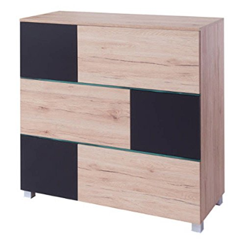 Justhome ad iii led kommode sideboard schrank hxbxt for Kommode 140 x 100