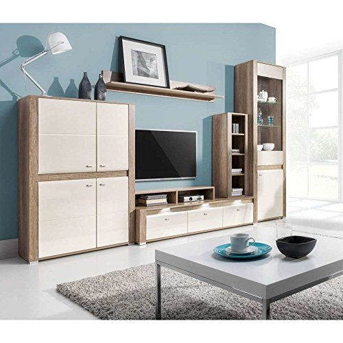 justhome campari wohnwand anbauwand schrankwand grau beige hochglanz mit variantenauswahl 0. Black Bedroom Furniture Sets. Home Design Ideas