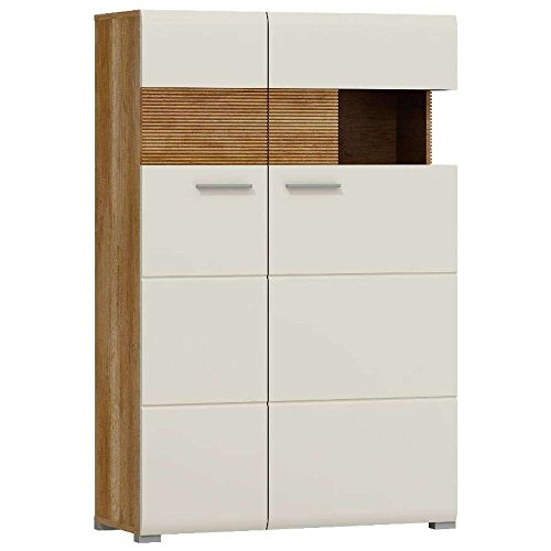 justhome luigi kommode sideboard highboard braun beige hochglanz hxbxt 137x90x37 cm g nstig. Black Bedroom Furniture Sets. Home Design Ideas
