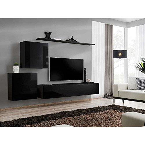 justhome switch v wohnwand anbauwand schrankwand hxbxt 150x250x40 cm schwarz matt schwarz. Black Bedroom Furniture Sets. Home Design Ideas