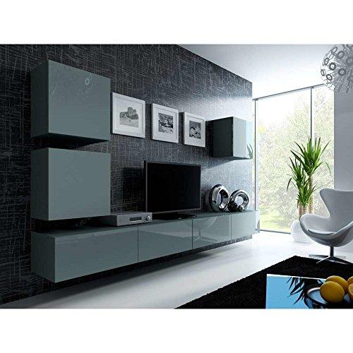 justhome vigo xxii quadrat wohnwand anbauwand schrankwand grau matt grau hochglanz 0 wohnw nde. Black Bedroom Furniture Sets. Home Design Ideas