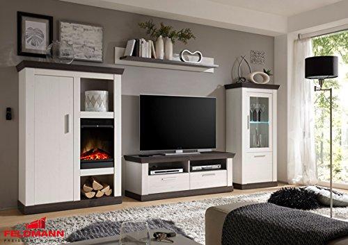 landhaus wohnwand anbauwand mit kamineinsatz 440932 pinie. Black Bedroom Furniture Sets. Home Design Ideas