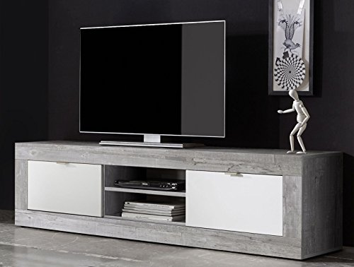 lowboard betonoptik grau weiss matt m bel24. Black Bedroom Furniture Sets. Home Design Ideas