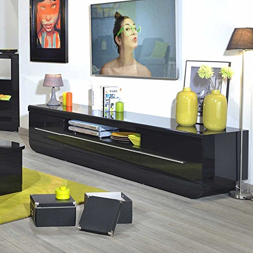 lowboard in schwarz hochglanz 220 cm breit pharao24. Black Bedroom Furniture Sets. Home Design Ideas