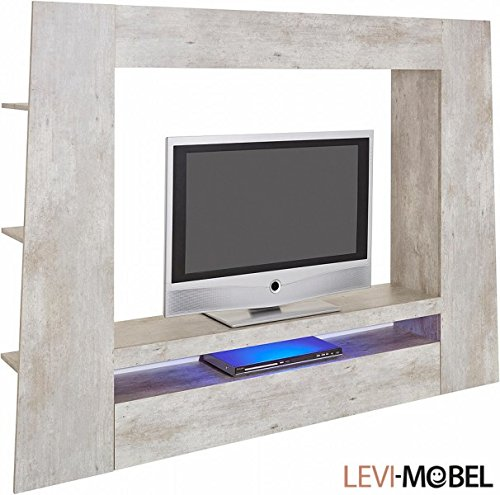 mediawand tv lowboard wohnzimmer wohnwand beton optik neu 318661 g nstig online kaufen wohnw nde. Black Bedroom Furniture Sets. Home Design Ideas