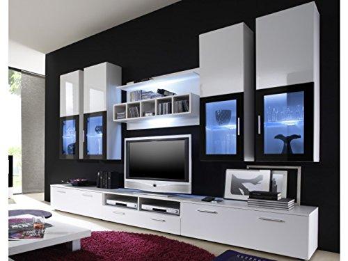 Moderne wohnwand vitrine anbauwand wohnzimmer m bel wei g nstig online kaufen m bel24 wohnw nde - Moderne anbauwand ...
