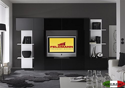 mediawand 708008 anbauwand schwarz wei hochglanz 260cm g nstig online kaufen m bel24 wohnw nde. Black Bedroom Furniture Sets. Home Design Ideas