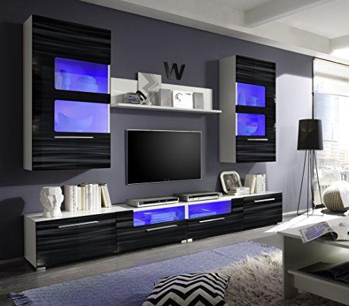 Roller wohnwand corner wei schwarz hochglanz mit for Wohnwand 260 cm breit